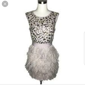 BEBE size 0 Sequin Feather Dress